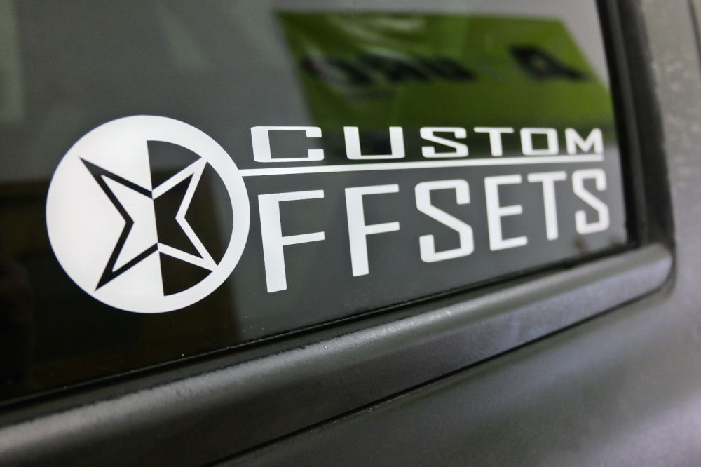 Package Deal on More Gear! Add PAIR of 12 inch Stacked Custom Offsets Decals White